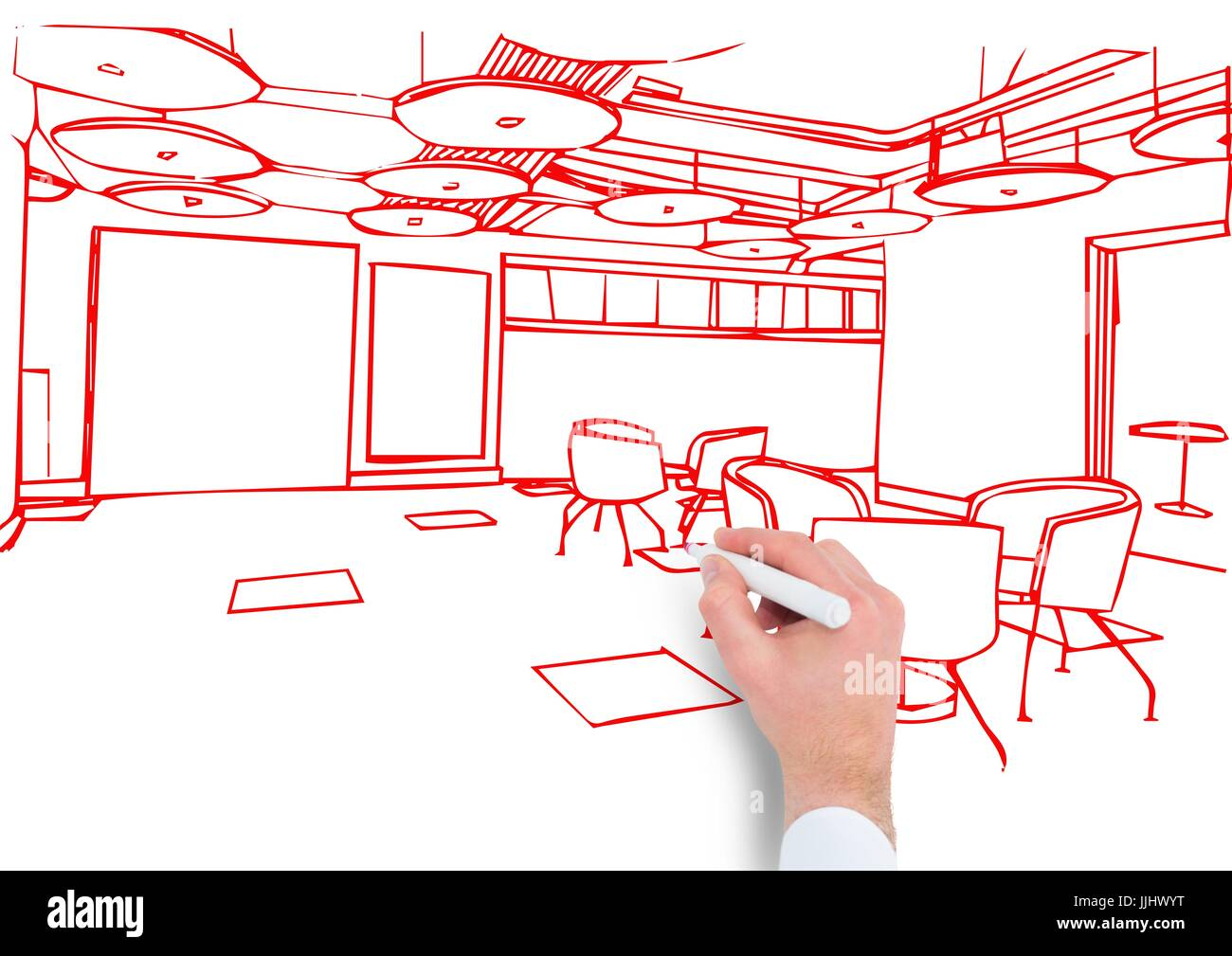 hand drawing office red lines - Stock Image
