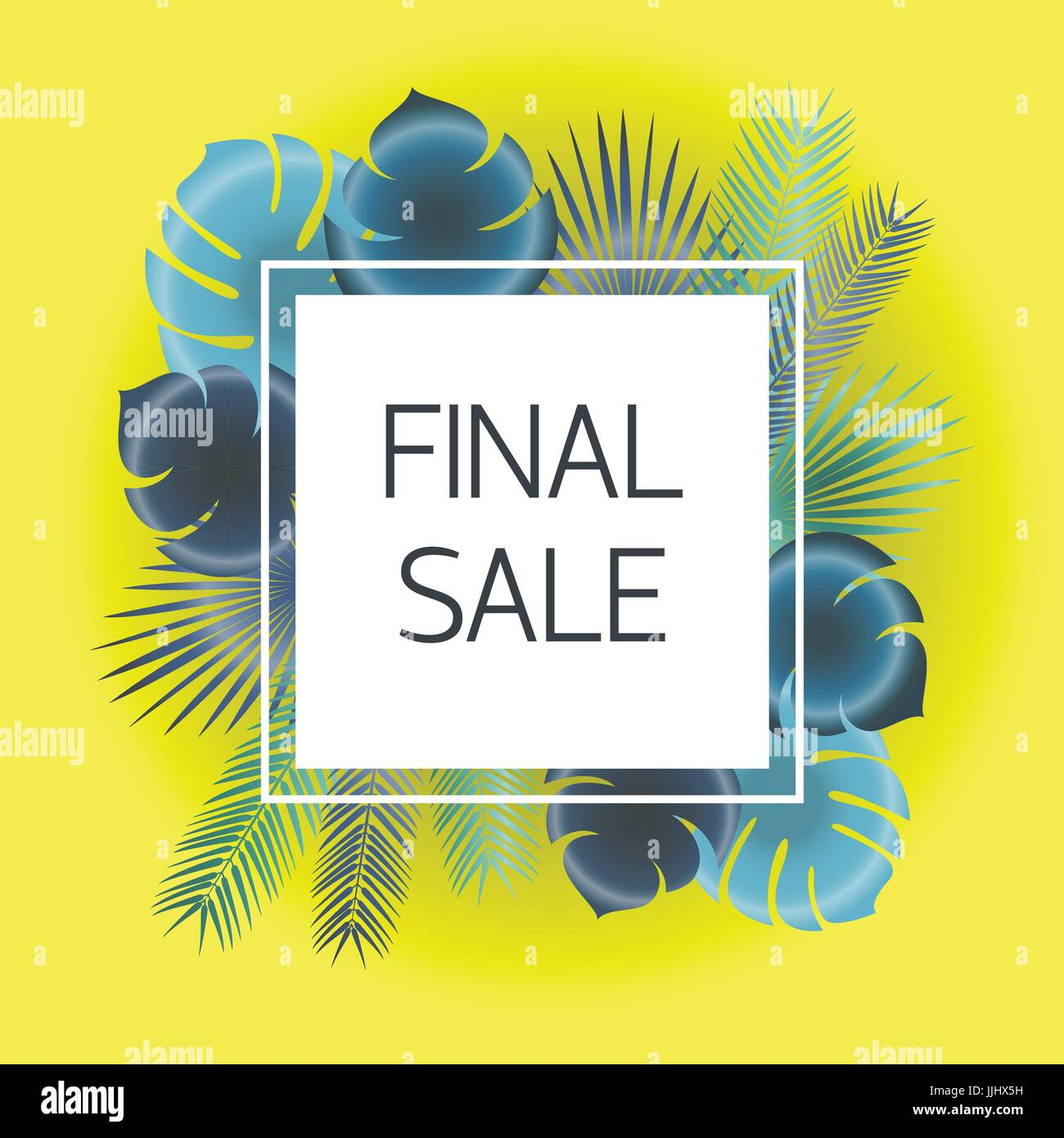 Final sale Vector illustration Trendy template for the online store, shop, poster and banner Blue and green palm - Stock Vector