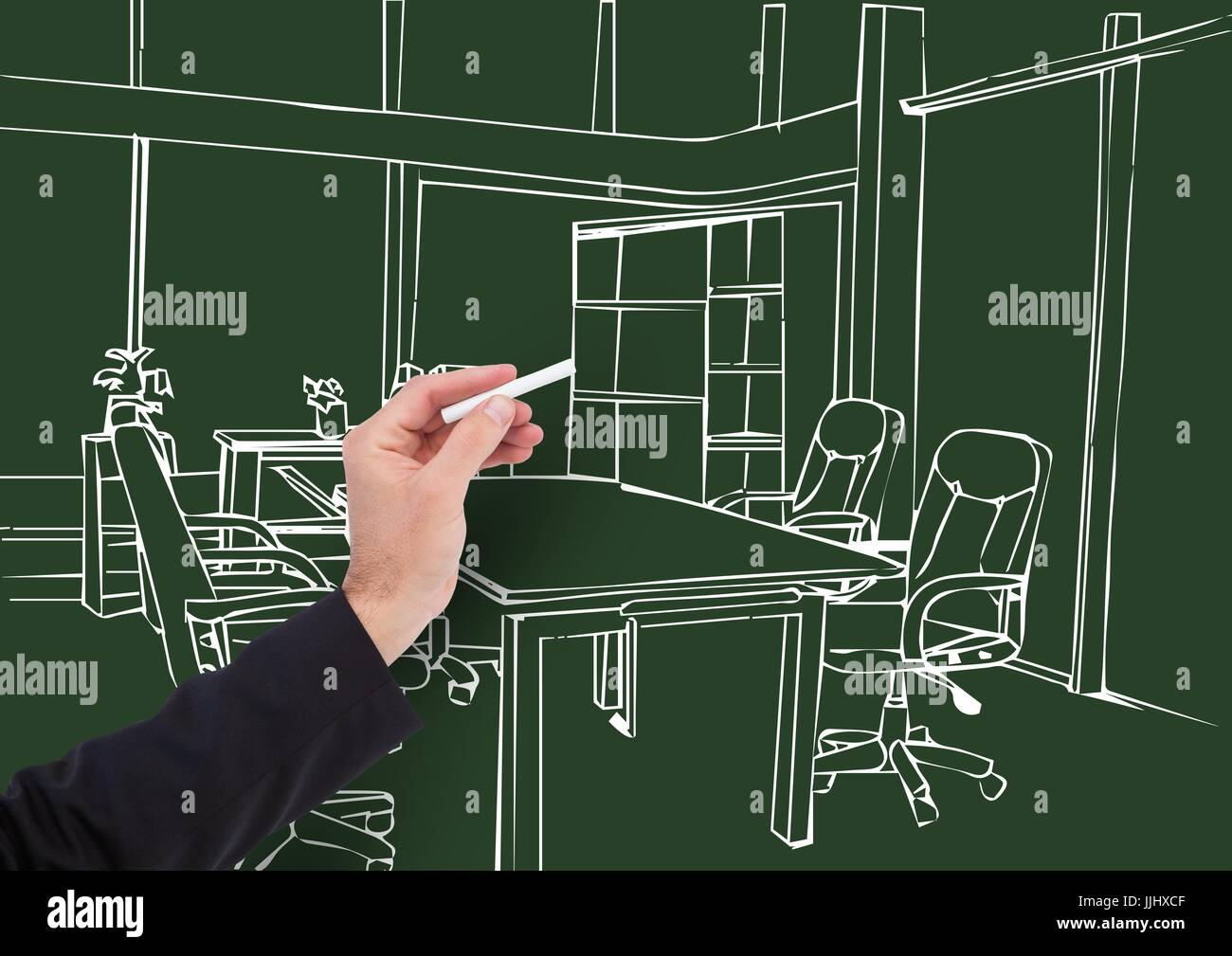 3d Hand Drawing Office Lines In Dark Background Stock Photo