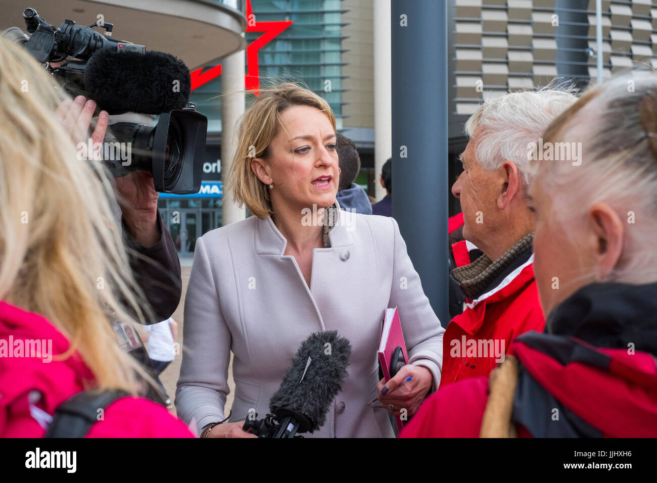 BBC political journalist Laura Kuenssberg interviewing people in Telford, Shropshire, England, UK - Stock Image