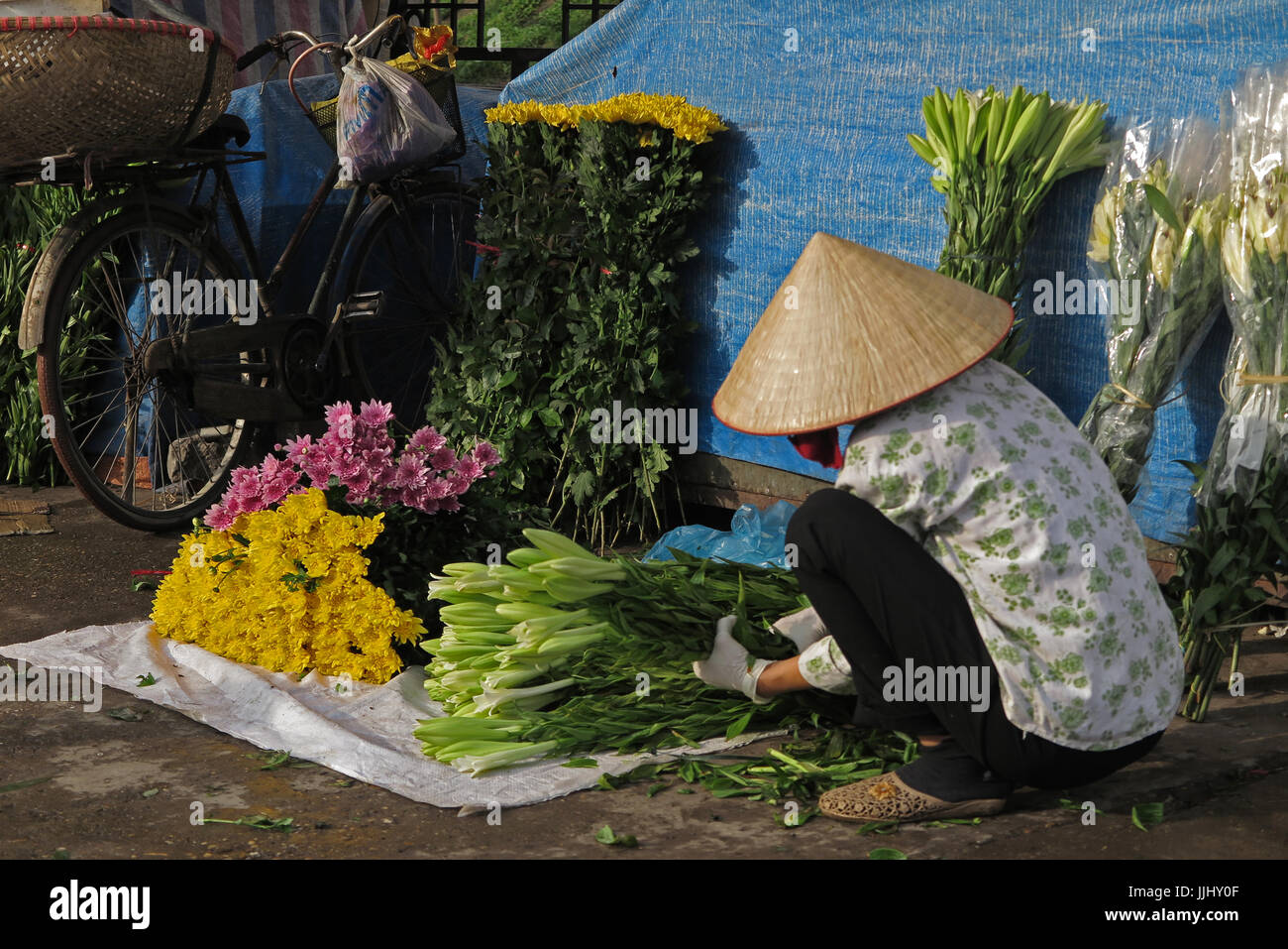 Early morning flower market scene at Hanoi Vietnam - Stock Image