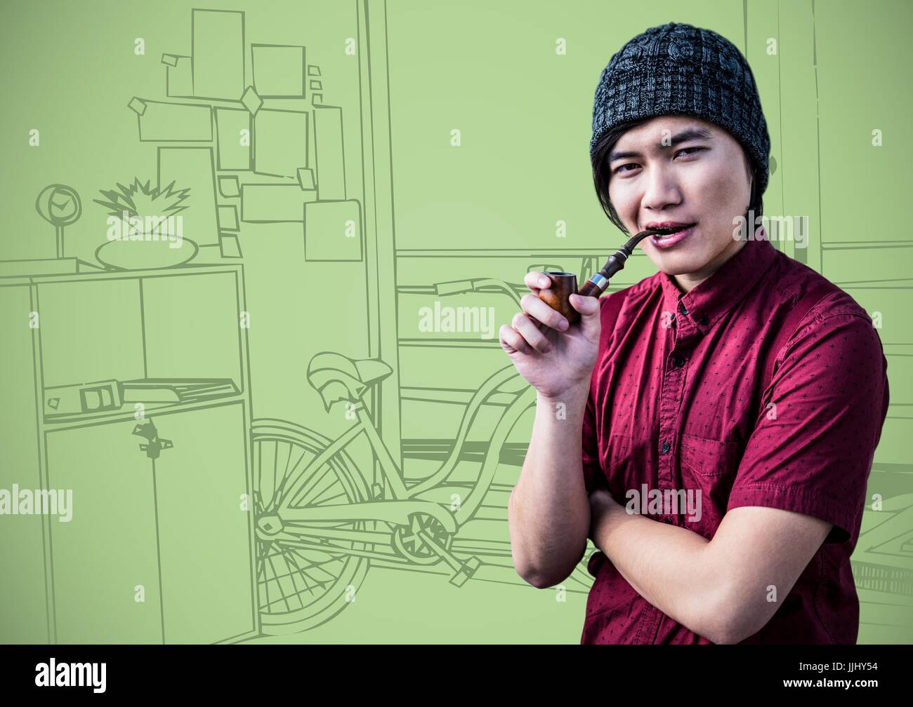 Millennial man smoking pipe against green 3d hand drawn
