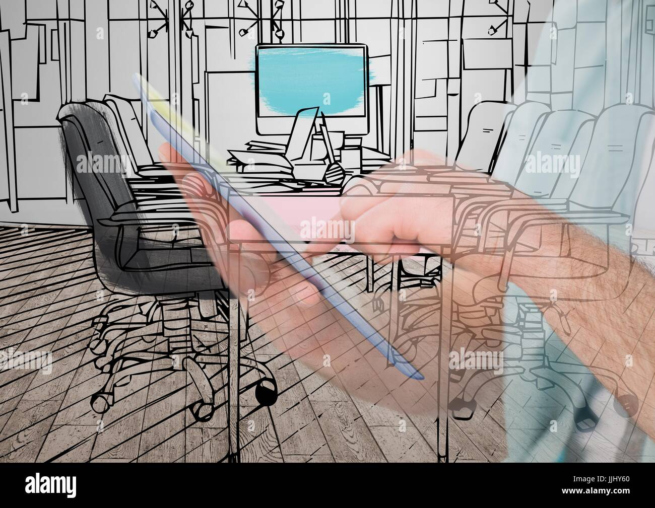 Drawing Lines With Tablet : Hands with tablet drawing on it the new office lines and overlap