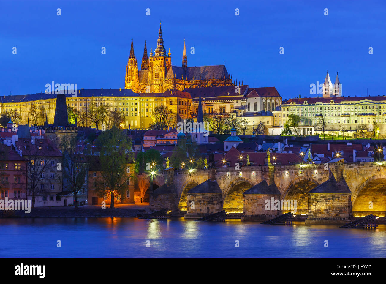 Classic view of Prague Castle and Charles Bridge. Taken at sunset in Prague in the Czech Republic - Stock Image