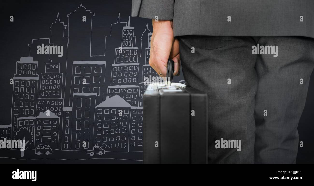 Business man lower body with briefcase against navy background with city doodle - Stock Image