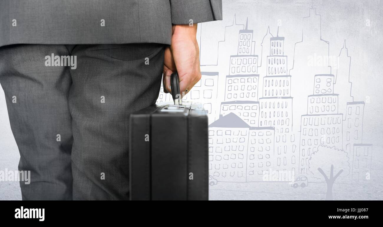 Back of business man lower body with briefcase against white wall and city doodle - Stock Image