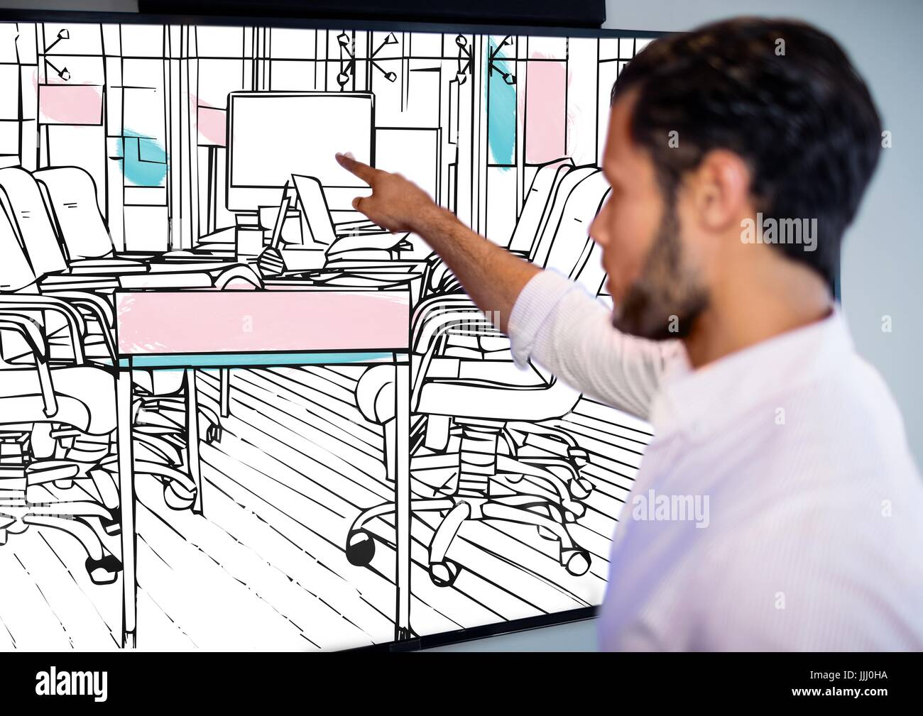businessman (blurred) pointing the big screen with 3D new office lines (black and white with pink an - Stock Photo
