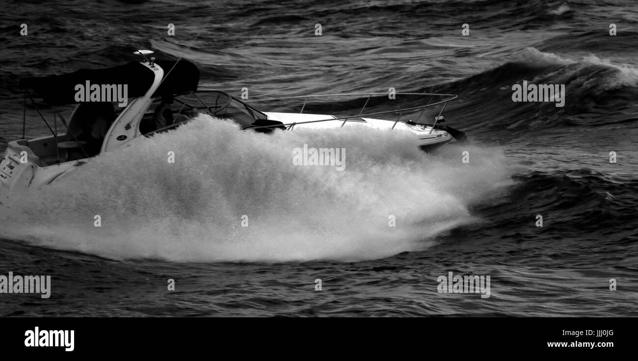 Motorboat splash in Black and White Stock Photo