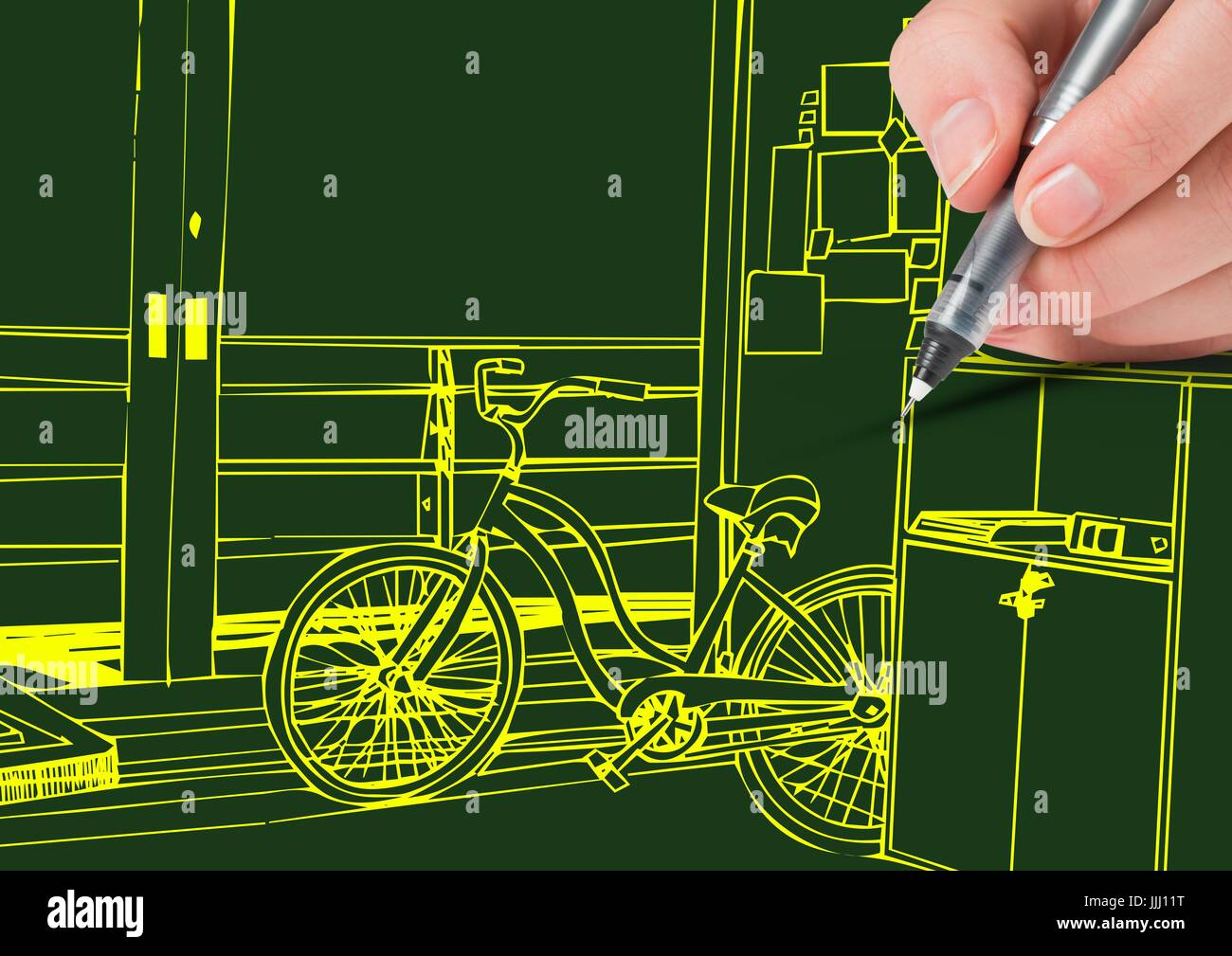 Hand Drawing 3d Office Yellow Lines On Green Background Stock
