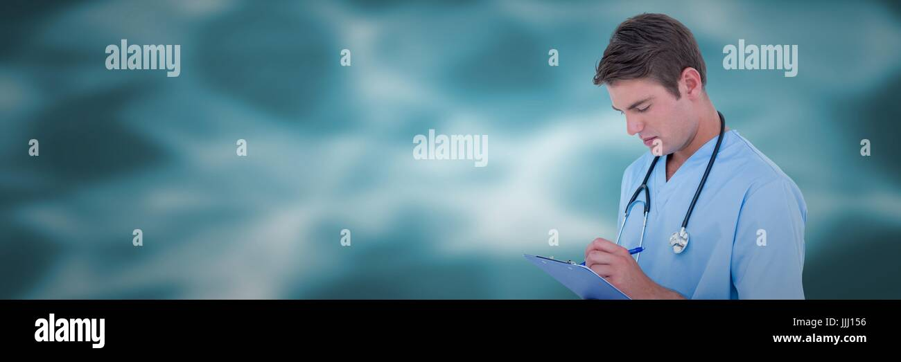 Doctor looking at clipboard against blurry blue vector mesh - Stock Image