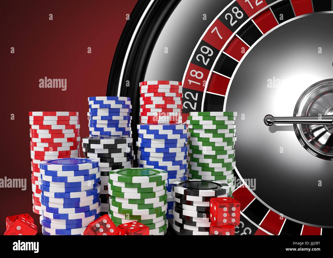 3D Poker chips with roulette wheel - Stock Image
