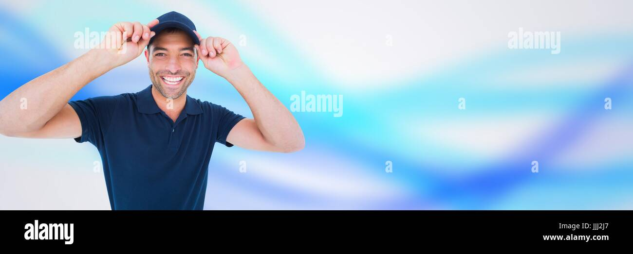 Man in blue cap in front of blurred background 3d - Stock Image