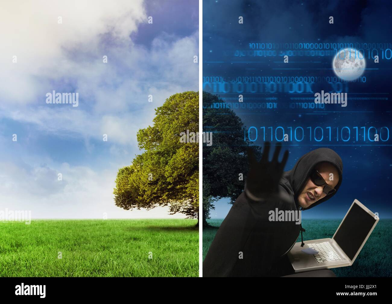 Separate picture with good weather from one perspective and dark night with hacker from another pers - Stock Image