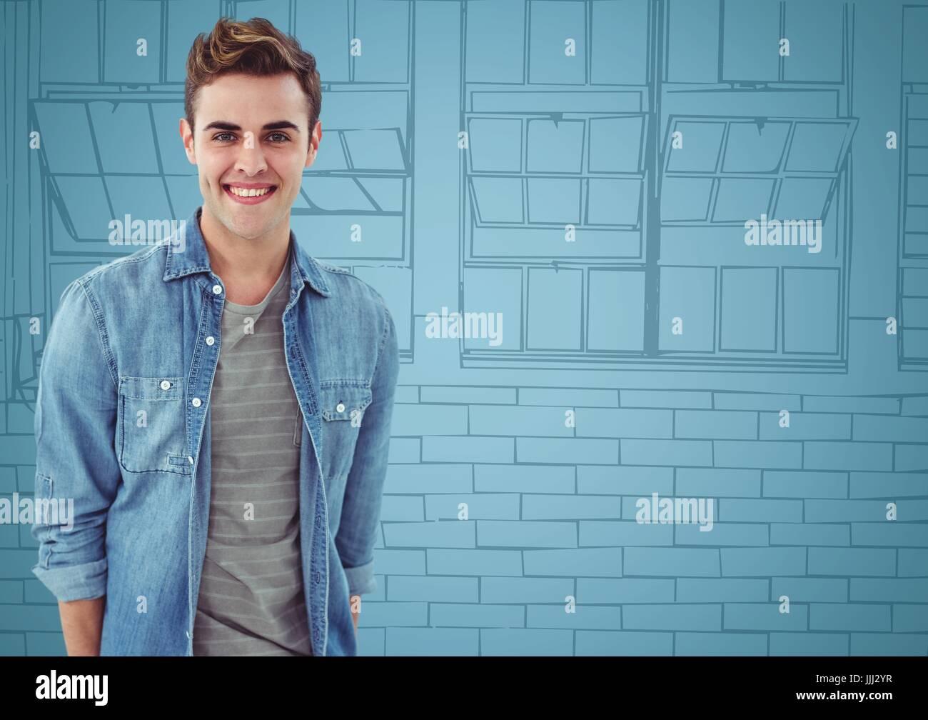 3d Millennial man smiling against blue hand drawn windows - Stock Image