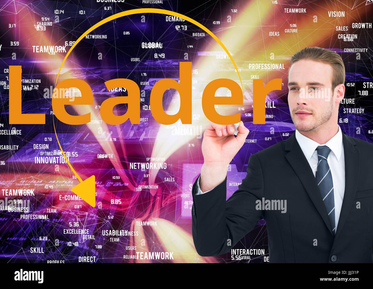Businessman writing LEADER on the screen. web market background. - Stock Image