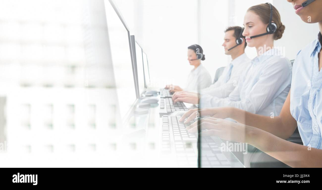 bright office. Customer Service Assistants With Headsets Bright Office Background N