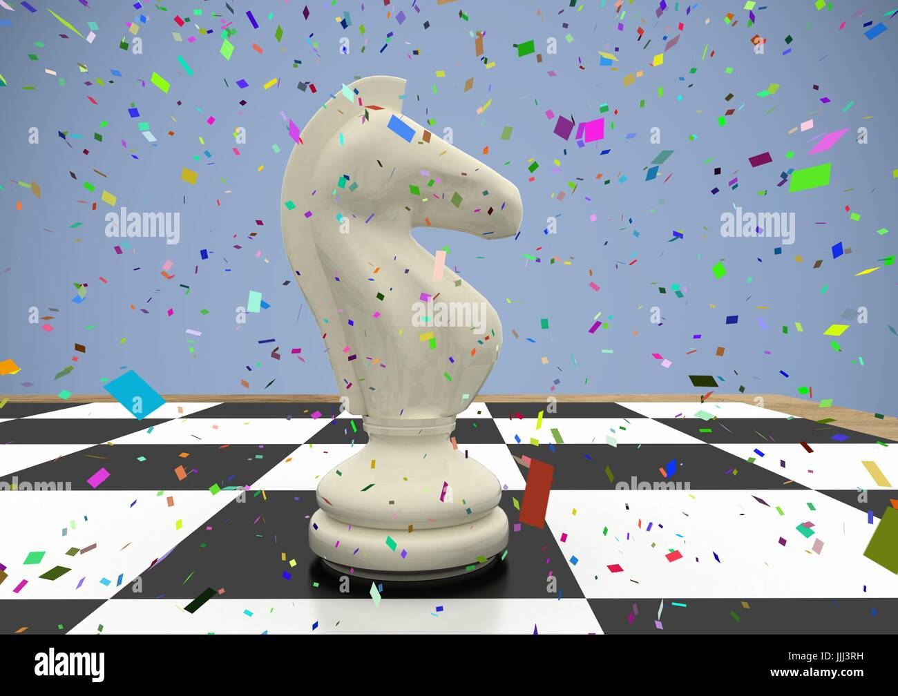 23a1c7f20 3D Chess piece against purple background with confetti - Stock Image