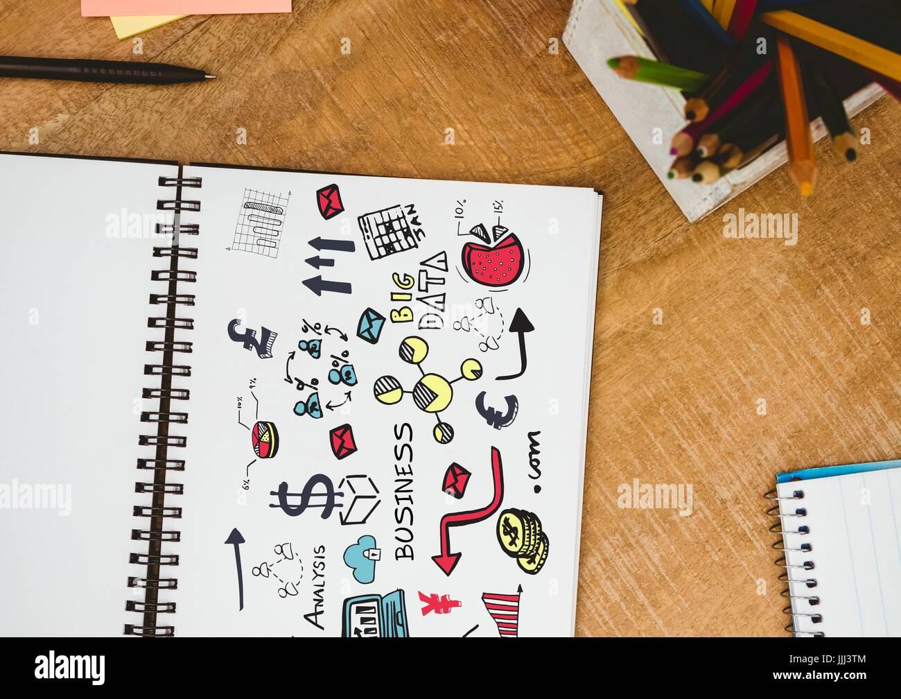 Business 3D doodle on notepad next to pencil - Stock Image