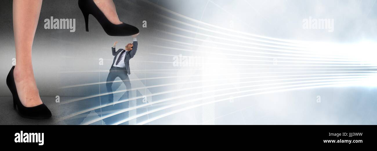 Business man being stepped on by giant feet and white interface transition - Stock Image