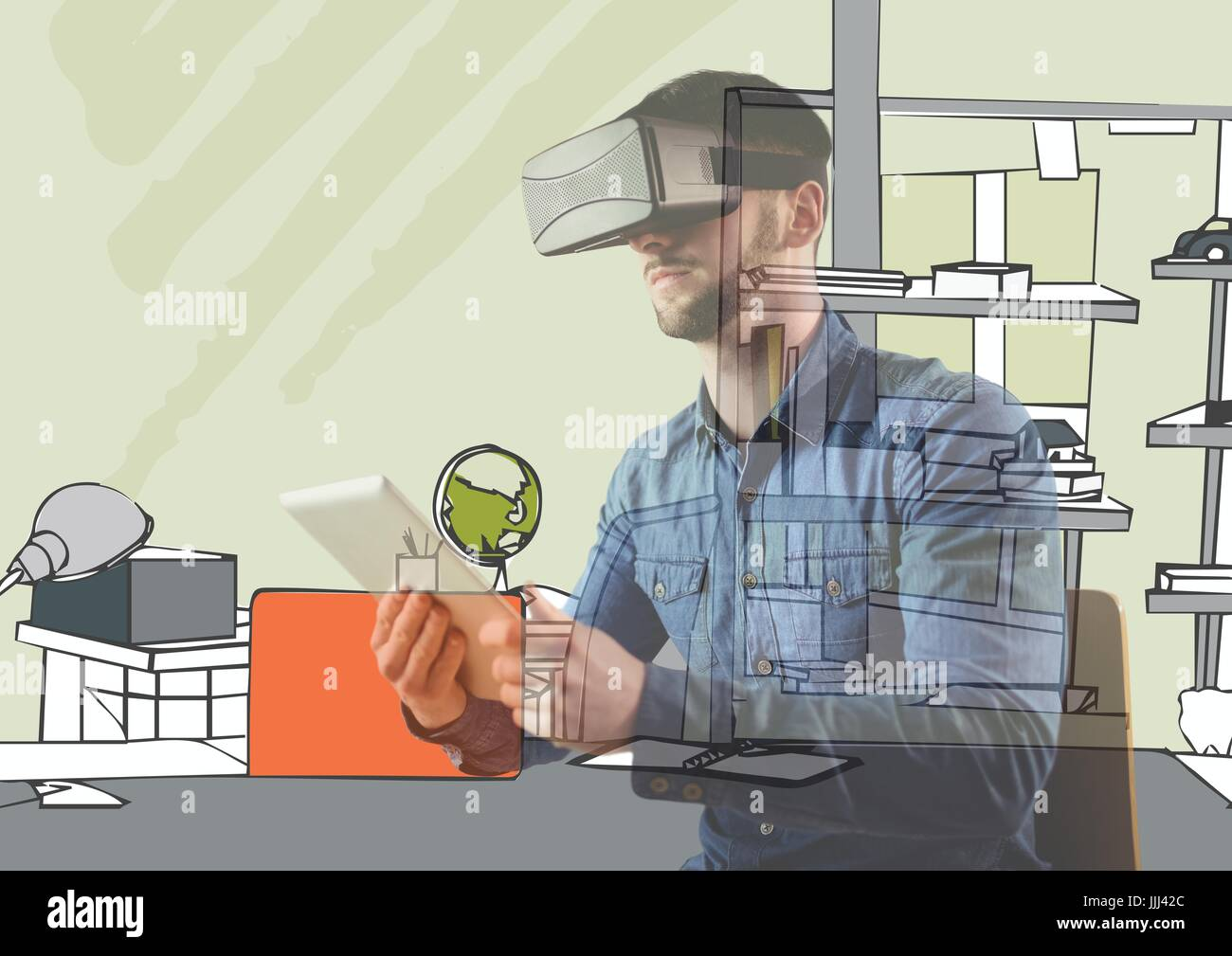 man with 3D glasses and tablet overlap with 3D new office lines. - Stock Image