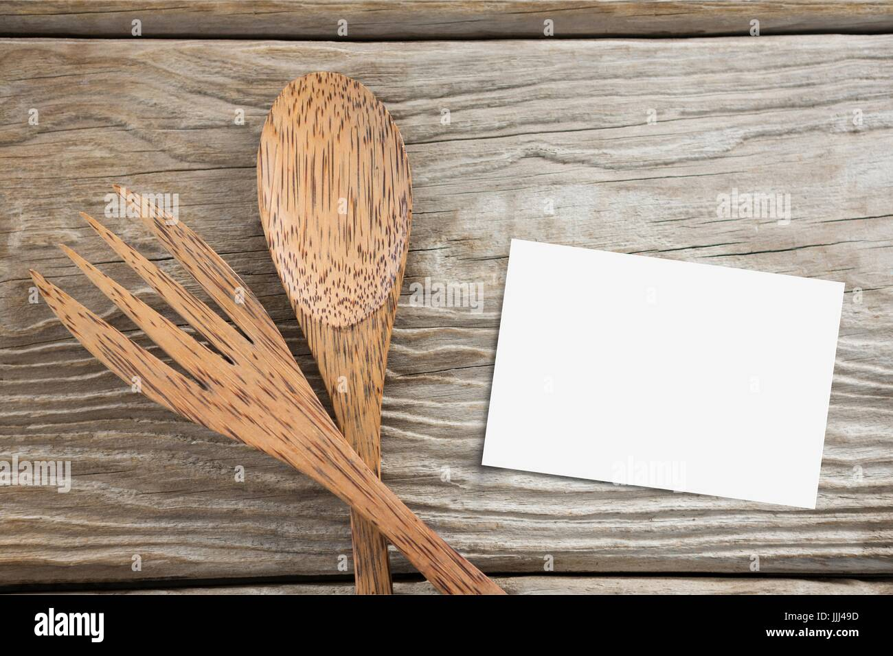 Copy space on a bussiness card on wooden desk Stock Photo