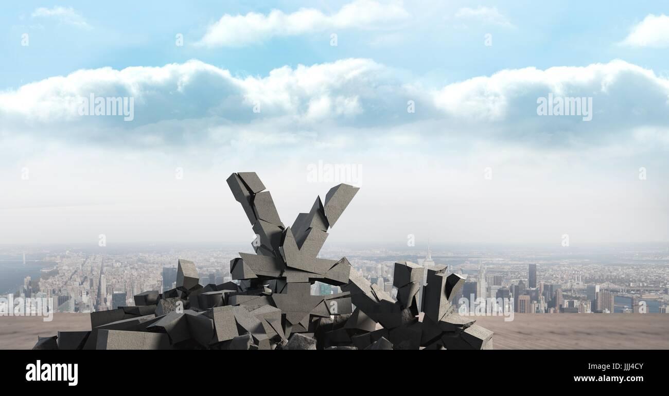 3D Broken concrete stone with Yen symbol in cityscape - Stock Image