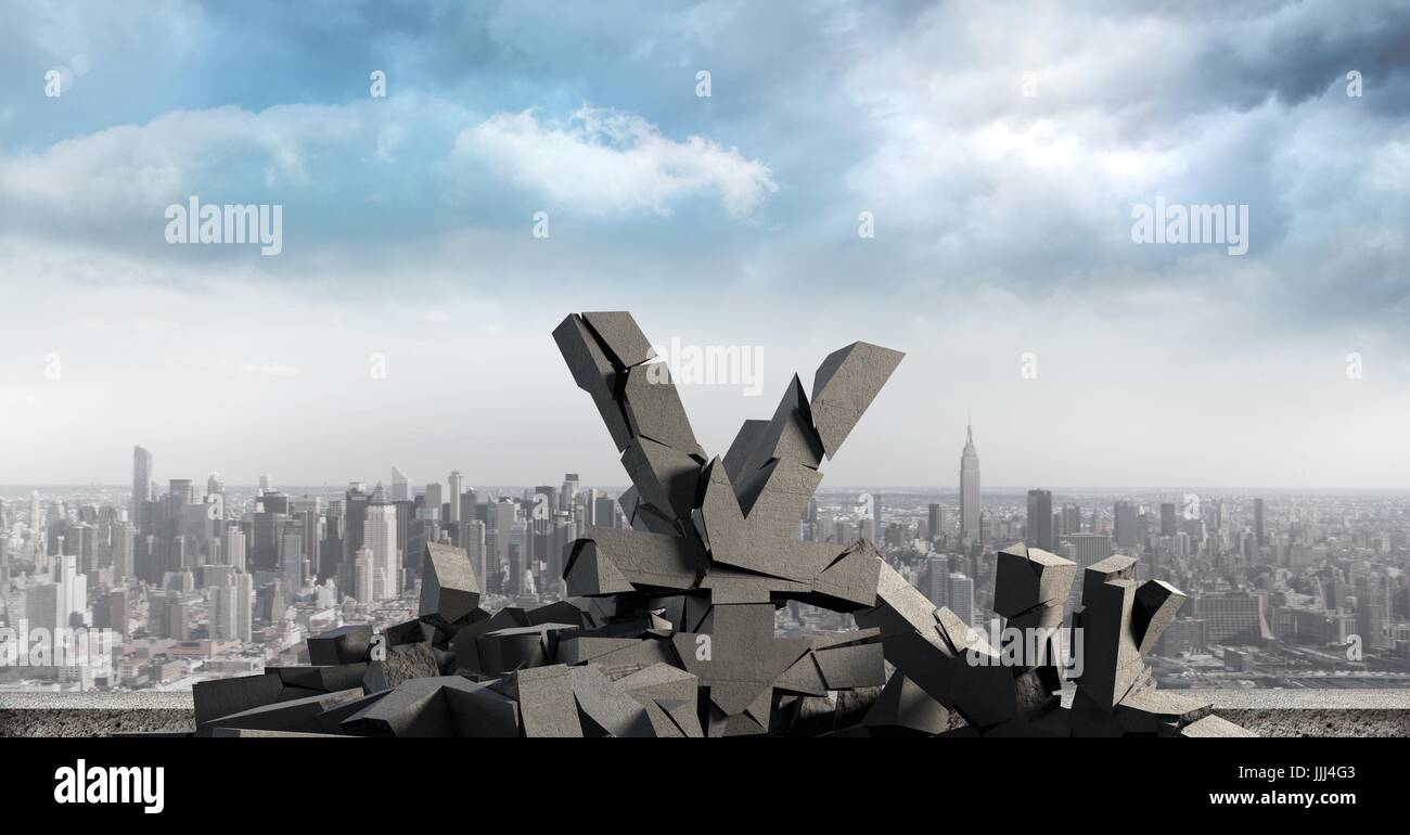 3D Broken concrete stone with money Yen symbol in cityscape - Stock Image