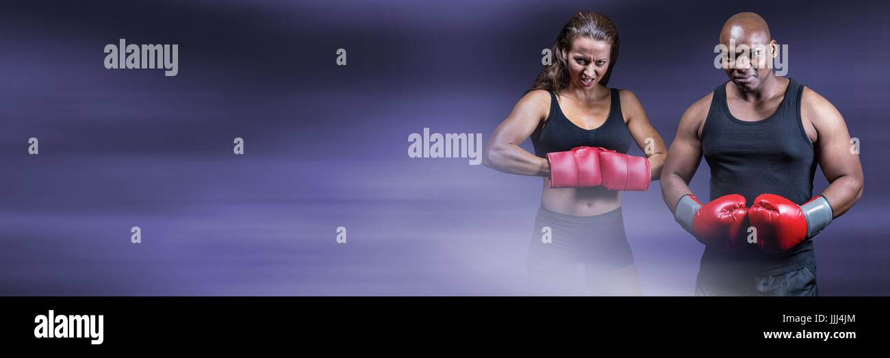 Boxer fighter man and woman with purple transition and copy space - Stock Image
