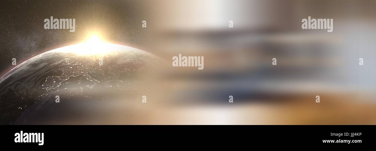 Sun Rising Over Planet Earth With Blurry Brown Transition   Stock Image