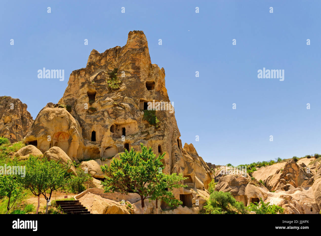 Cave dwellings at Goreme National Park, Cappadocia, Turkey. - Stock Image