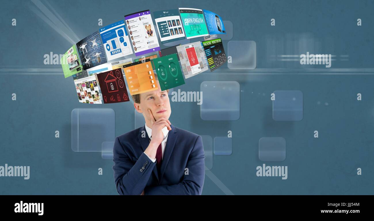 Thoughtful businessman looking at 3d various screens rotating over head - Stock Image