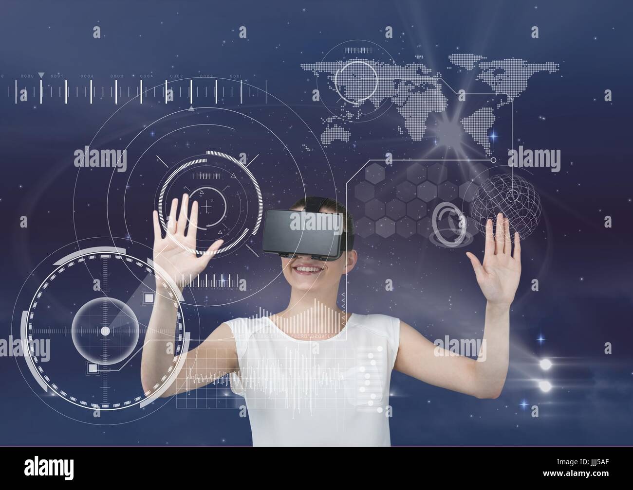 Happy woman in VR headset touching interface against purple sky with stars and flares - Stock Image
