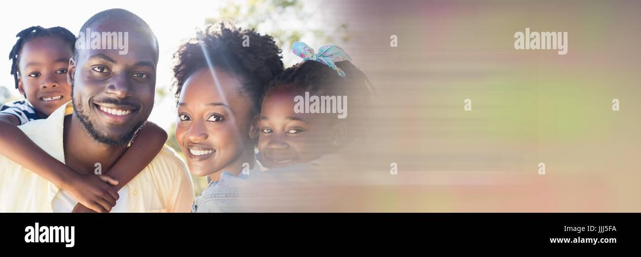 Family piggy back outside motion blur transition 3d - Stock Image