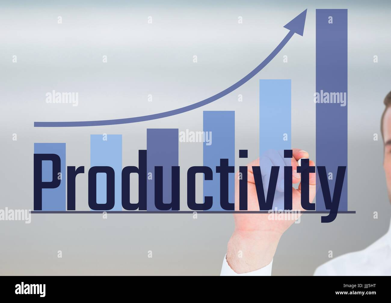 Productivity with bar graph. - Stock Image