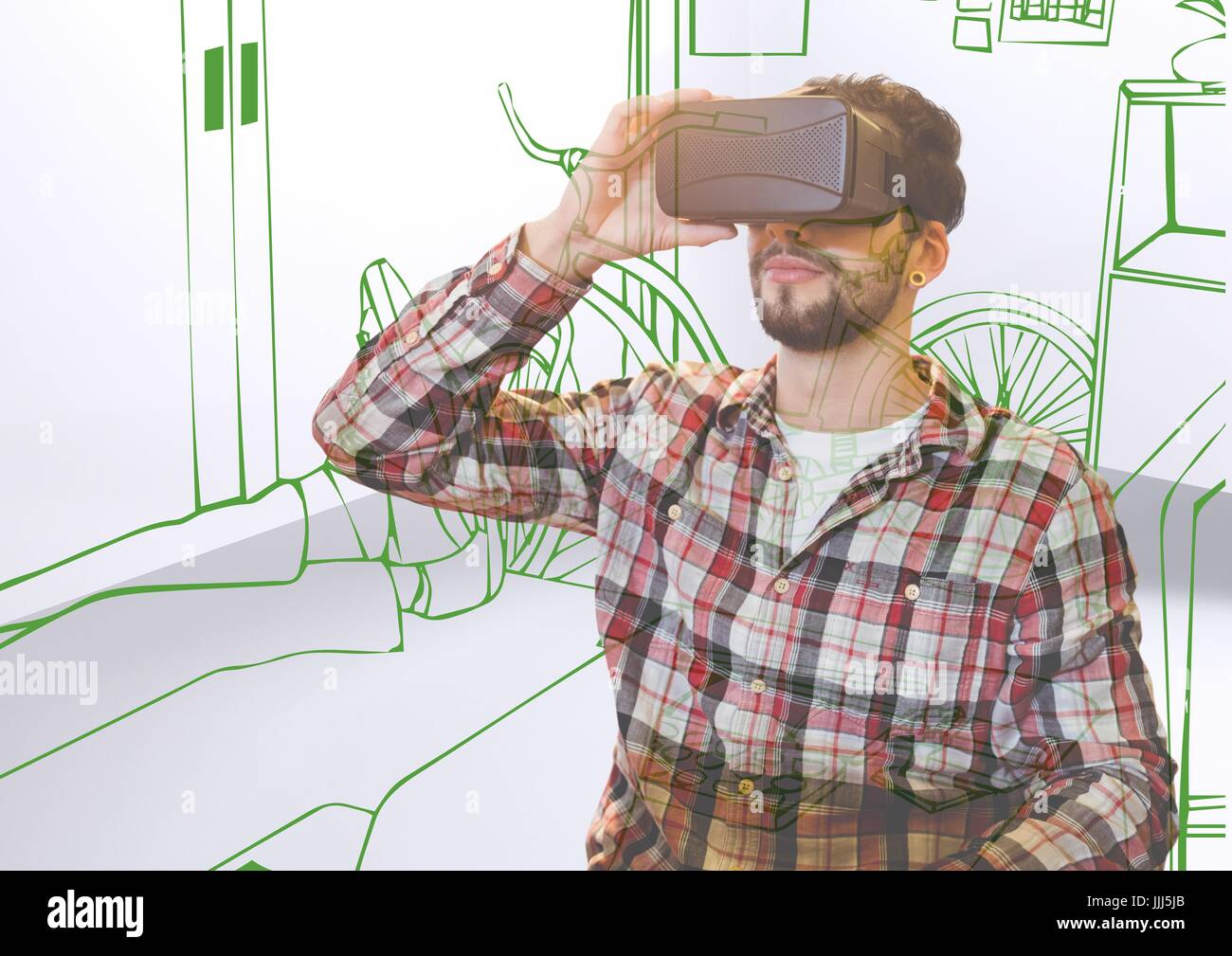 young man with 3D glasses overlap with office green lines - Stock Image