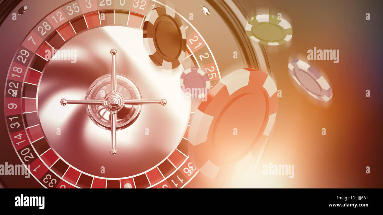 Composite image of vector image of 3d gambling chips - Stock Image