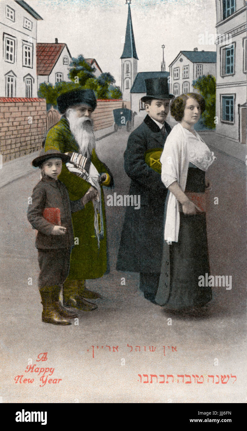 jewish new year card early 1900s cap reads ayn schulerein going to the synagogue made in germany sold in new york photo against idealised german town