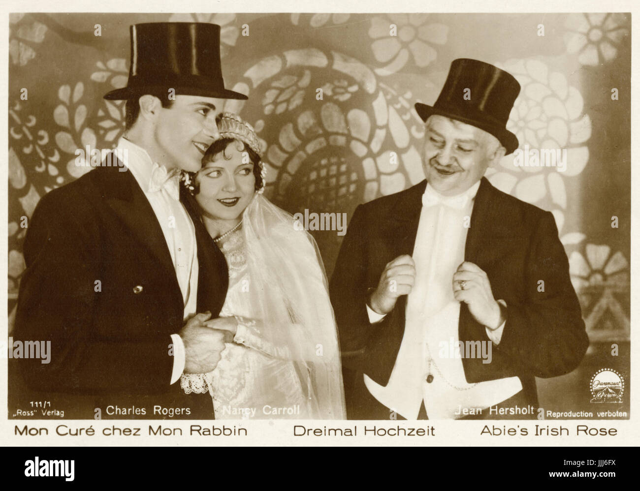 Film 'Abie's Irish Rose, wedding scene, New York, 1920s.  'Dreimal Hochzeit' - 3-time wedding.  'Mon Cure chez Mon Stock Photo