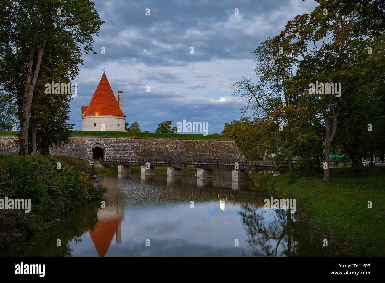 Colorful sunrise over Kuressaare castle, summer time. Saaremaa island, Estonia Stock Photo