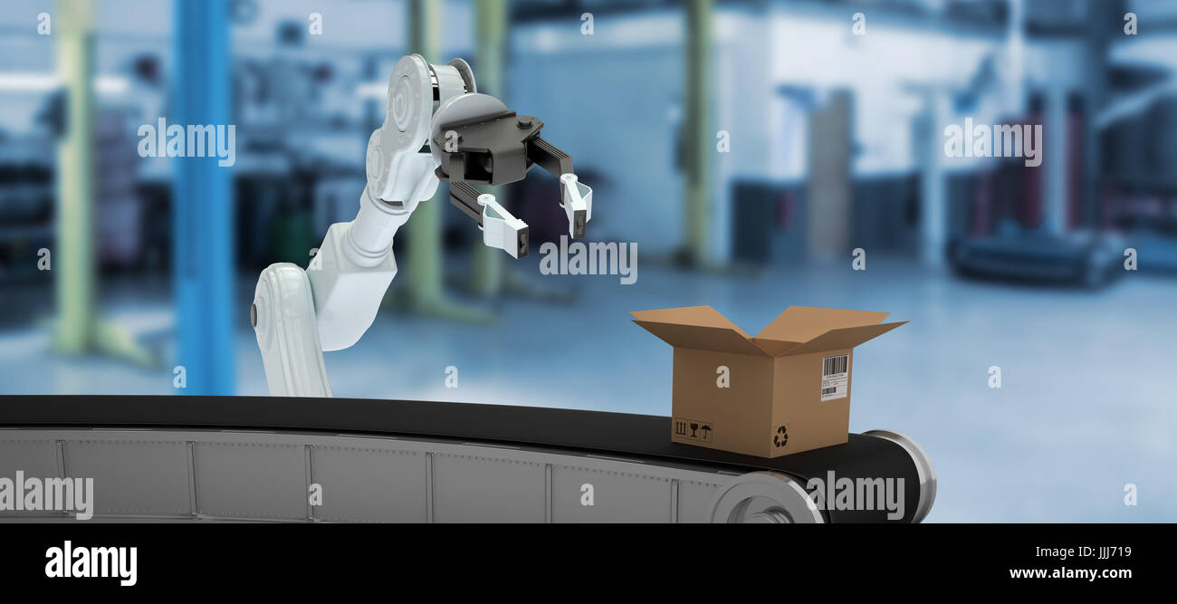 Composite 3d image of digital image of production line with open cardboard box - Stock Image