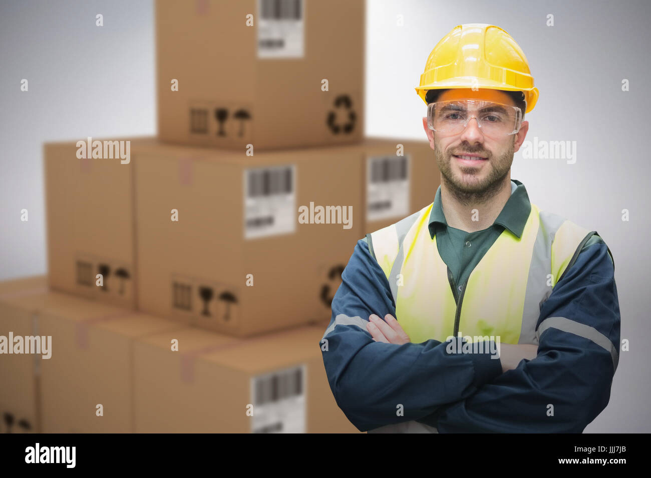 Composite 3d image of manual worker wearing hardhat and eyewear - Stock Image