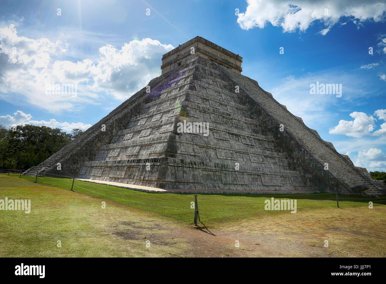 Chichen Itza Pyramid, Wonder of the World, Mexico, yucatan - Stock Image