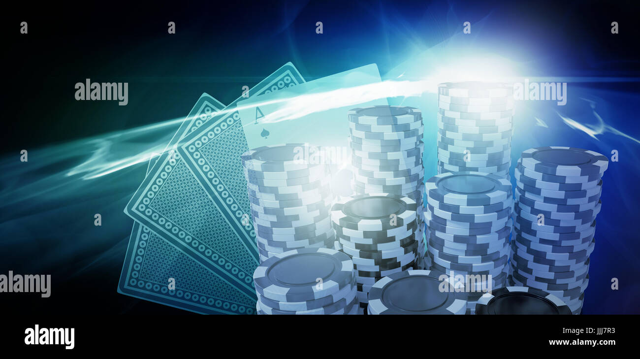 Composite image of computer generated 3d image of gambling chips - Stock Image