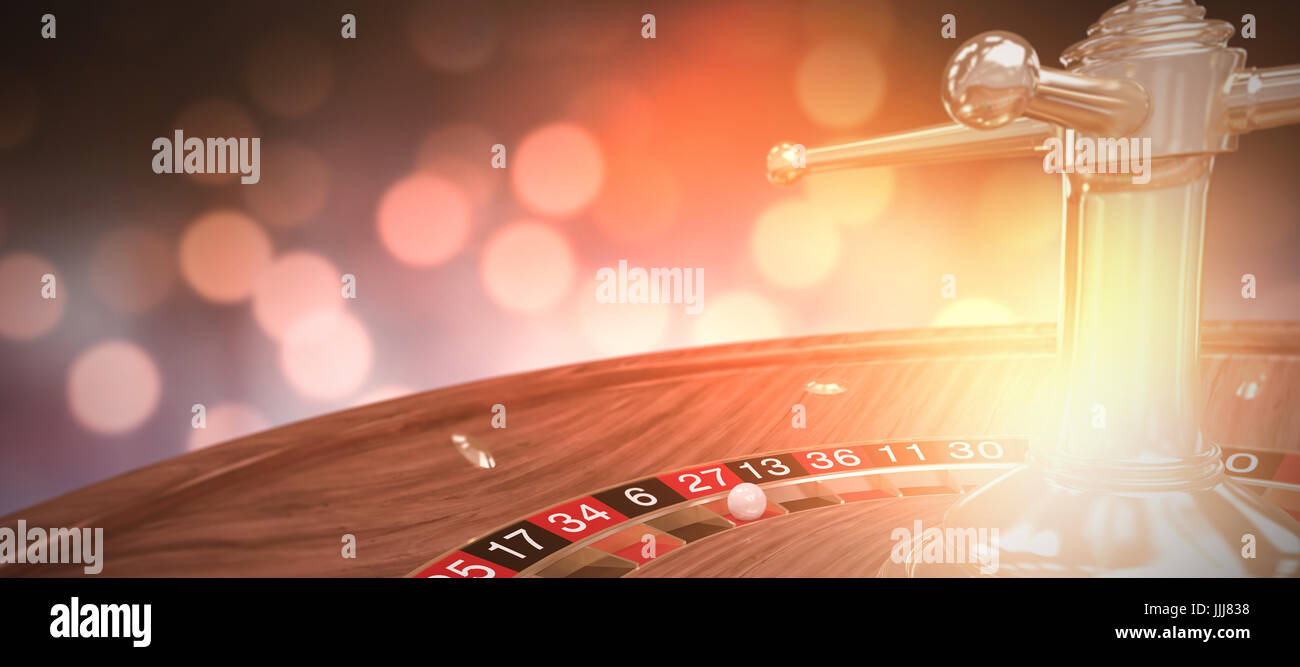 Composite 3d image of digital image of wooden roulette wheel - Stock Image