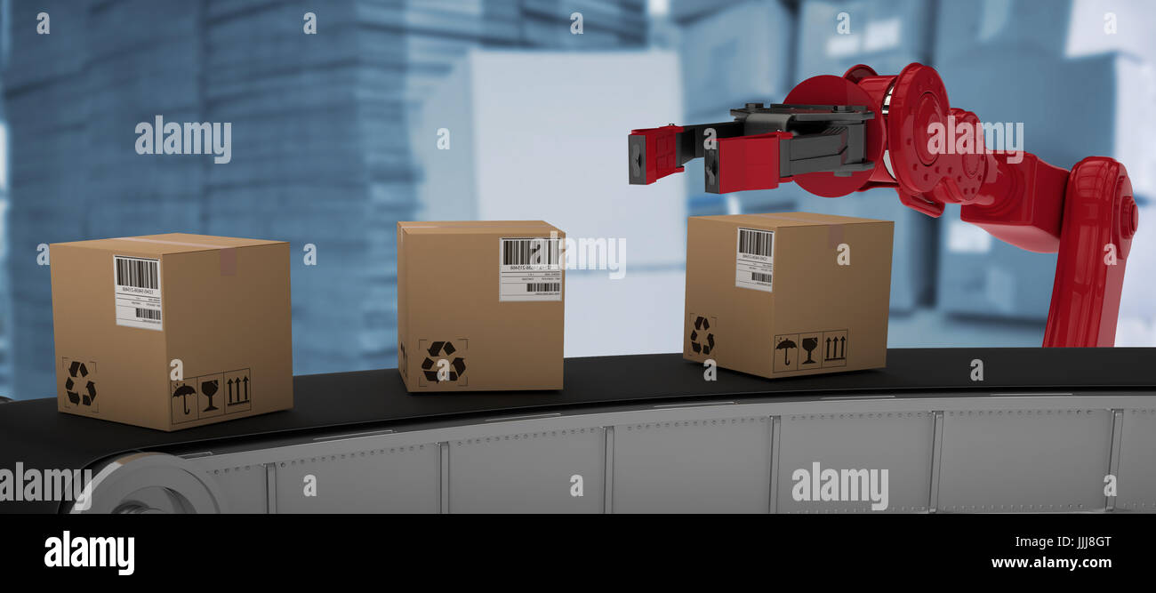 Composite image of cardboard boxes on 3d production line - Stock Image