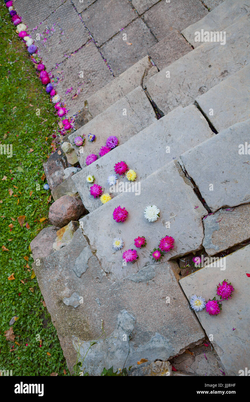 Vintage stone stairs of a palace decorated by flowers wedding stock vintage stone stairs of a palace decorated by flowers wedding decoration junglespirit Image collections