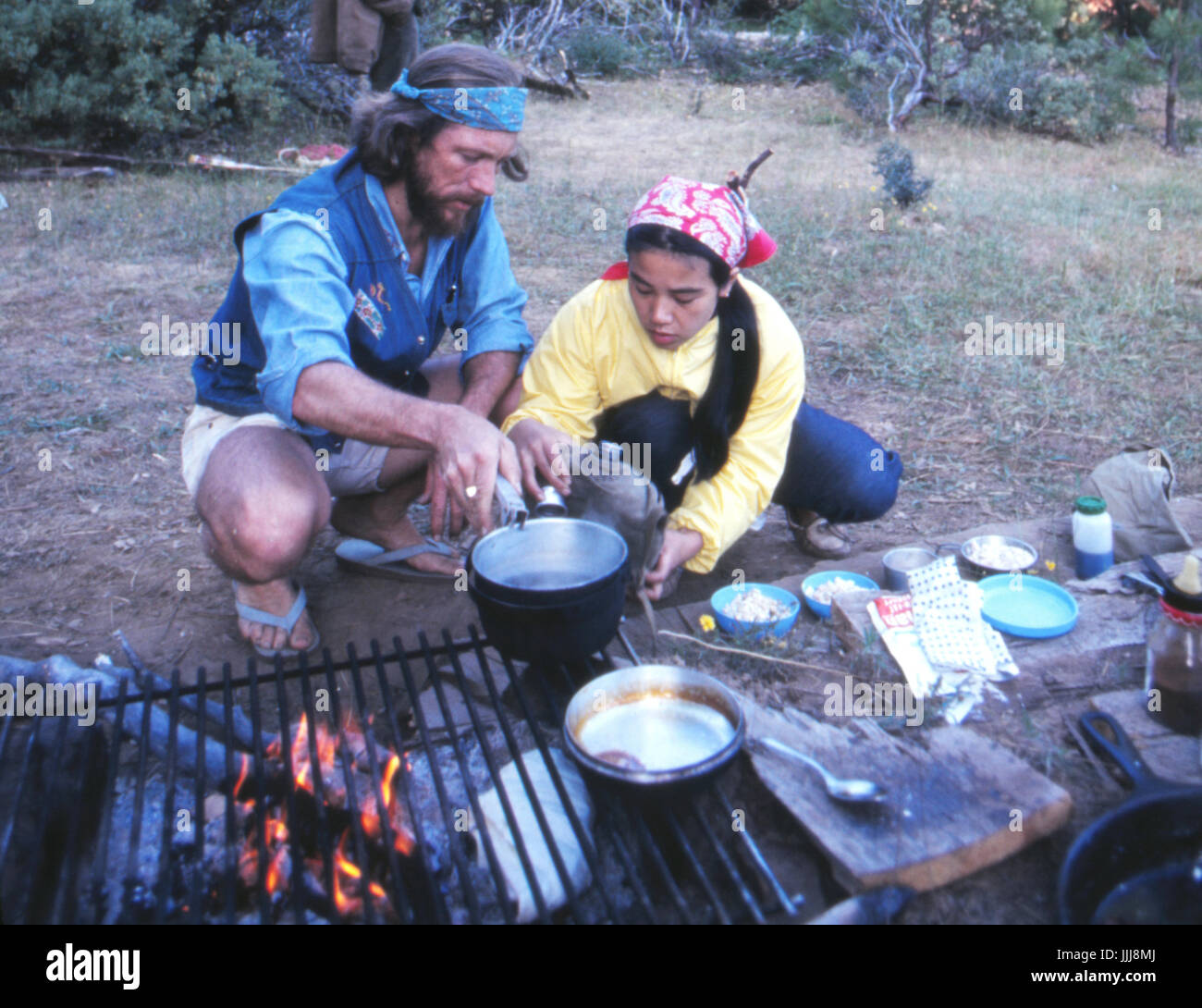 Gary Snyder and Masa Uehara, in the Sierra Nevada, 1969 - Stock Image