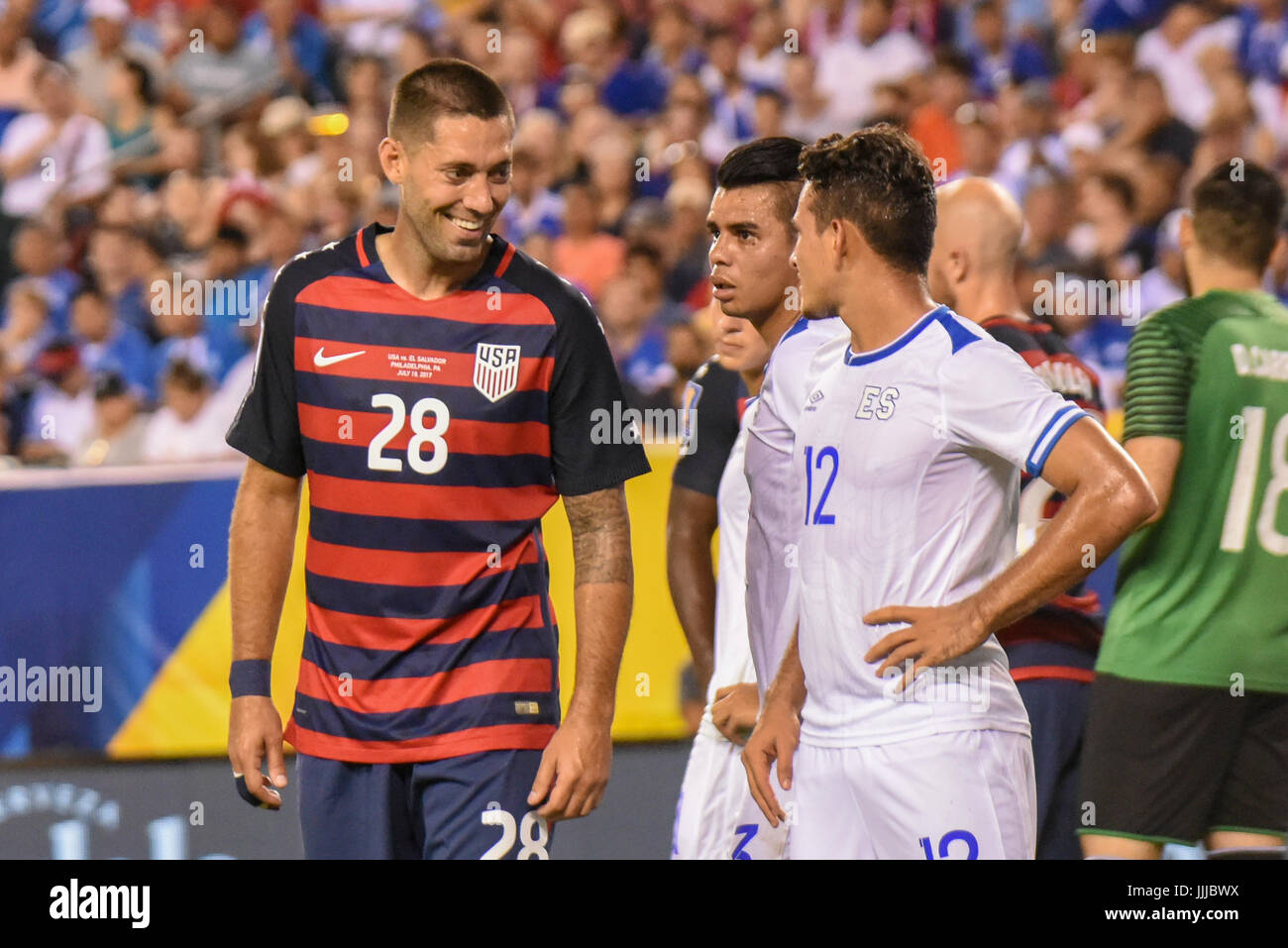 Clint Dempsey of the USMNT United States Mens National Team jokes / laughs / smiles during a soccer | football match - Stock Image