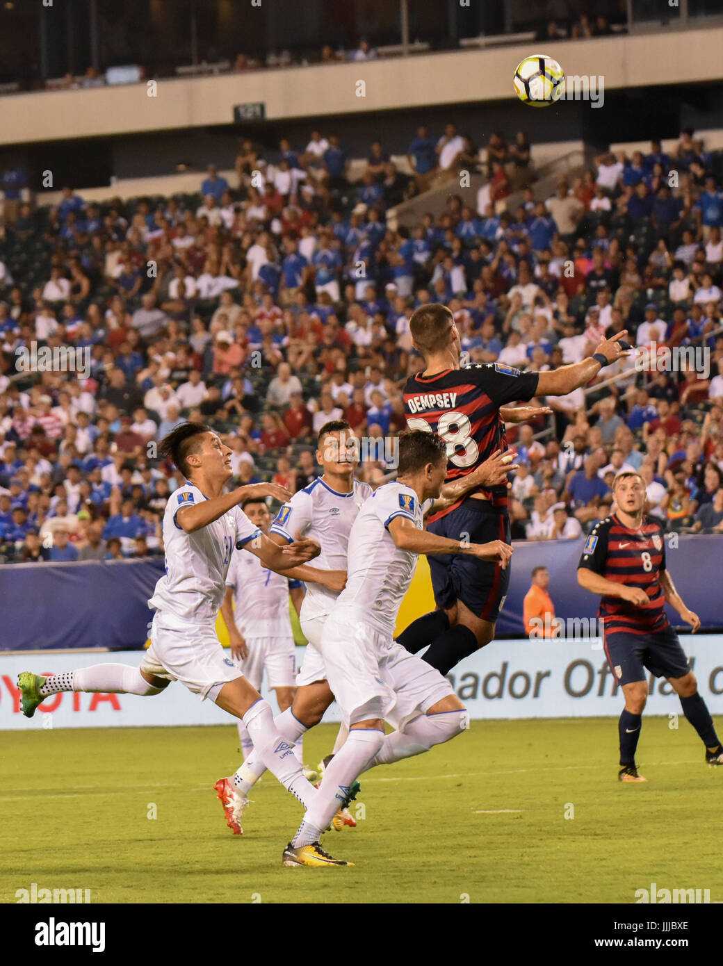 Clint Dempsey jumps for a header during the USMNT United States Mens National Team soccer | football match against - Stock Image