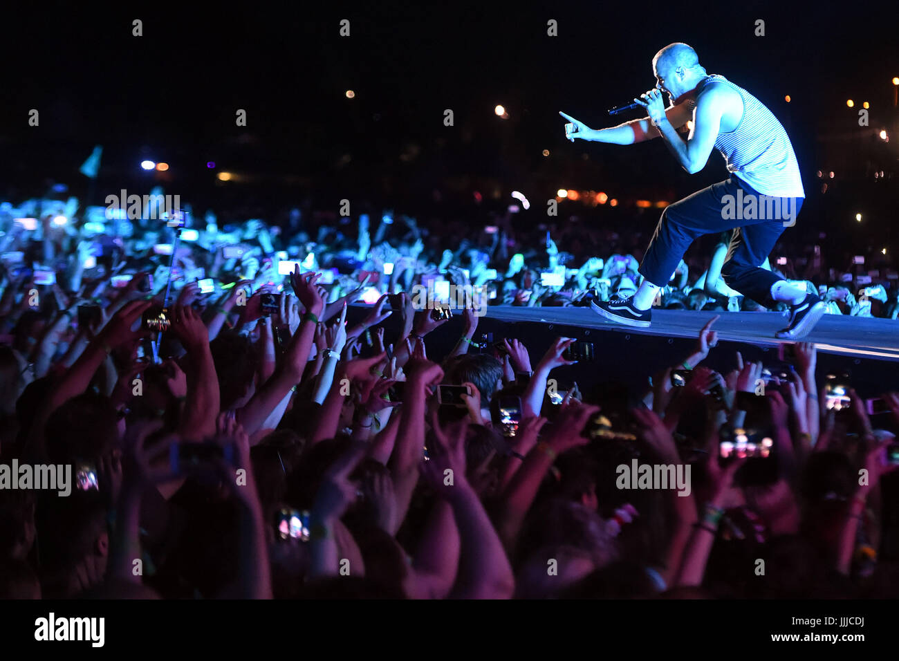 Ostrava, Czech Republic. 19th July, 2017. Singer Dan Reynolds of the US music band Imagine Dragons performs during - Stock Image